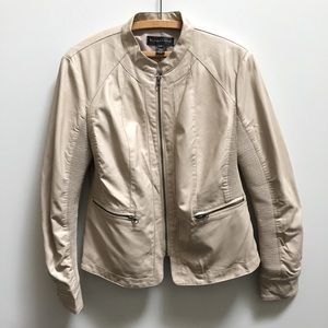 Bagatelle cream tan faux leather moto jacket coat